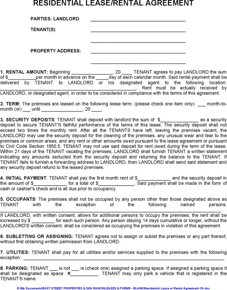 Apartment Tenancy Agreement Example