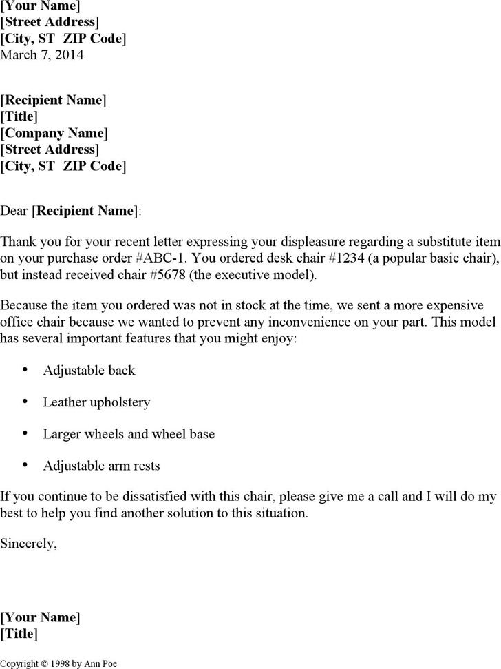 Apology Letter for Dissatisfaction With Substitute Item