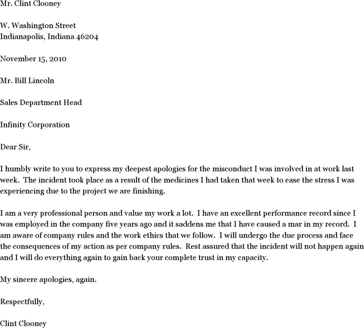 Sample Letter of Apology for Misconduct Download Free Premium