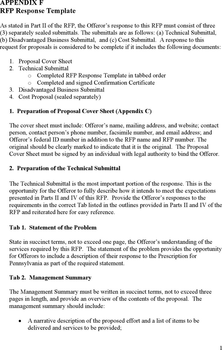 Appendix F RFP Response Template