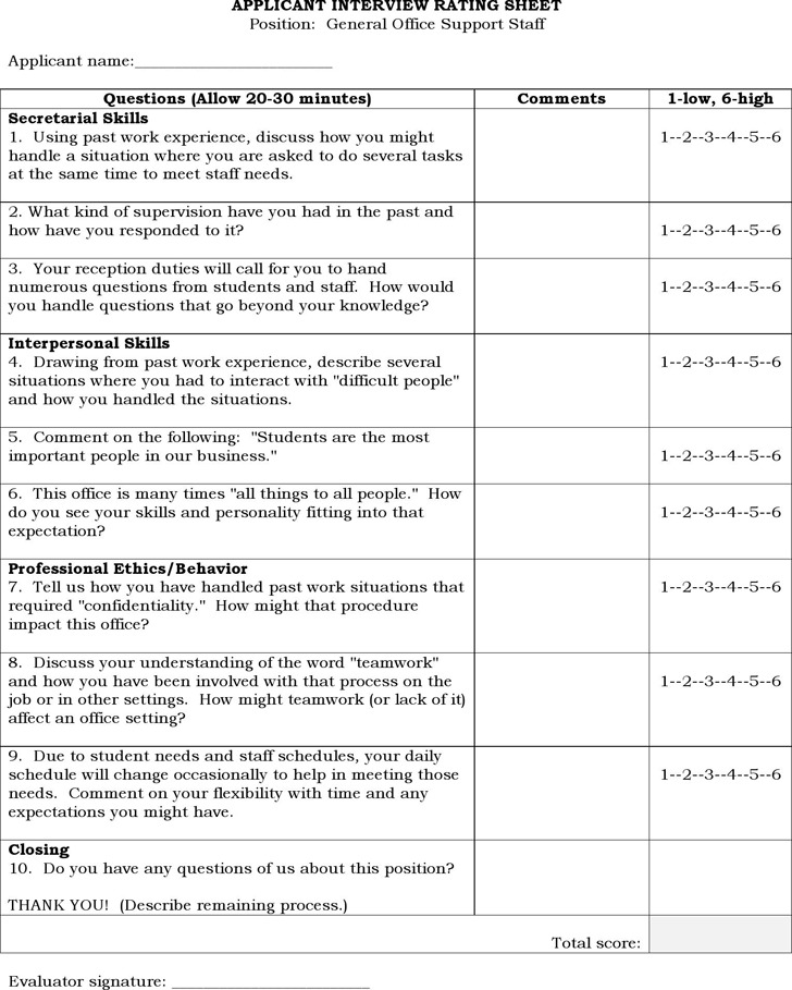 Interview Score Sheet Samples
