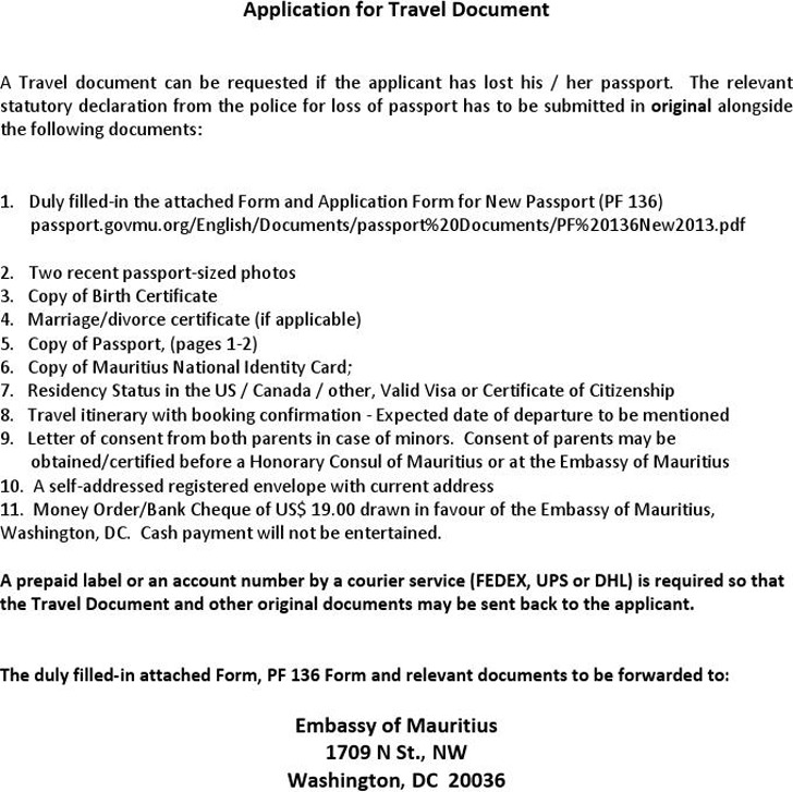 Application for a Travel Document