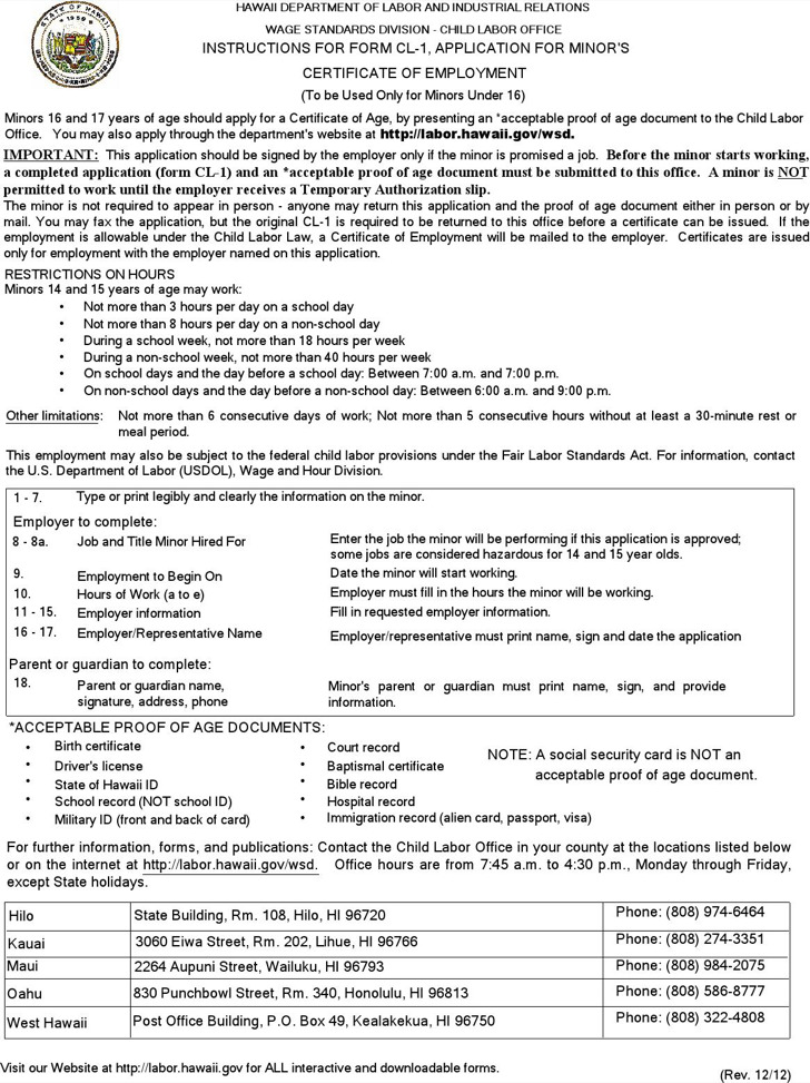 Application For Minors Certificate Of Employment
