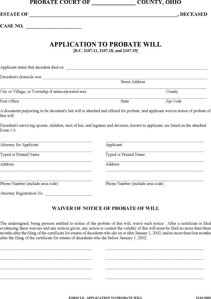 Application to Probate Will