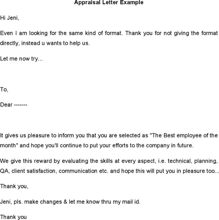 Sample Appraisal Letters – Letter of Appraisal