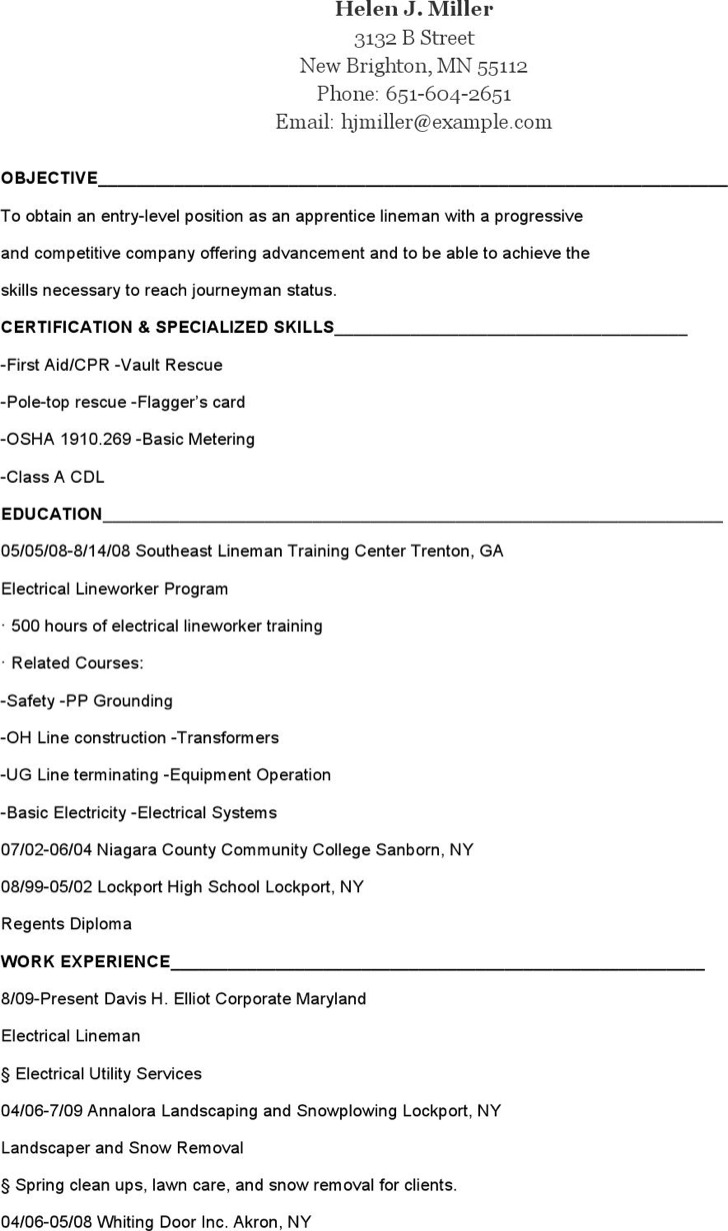 Apprentice Lineman Resume