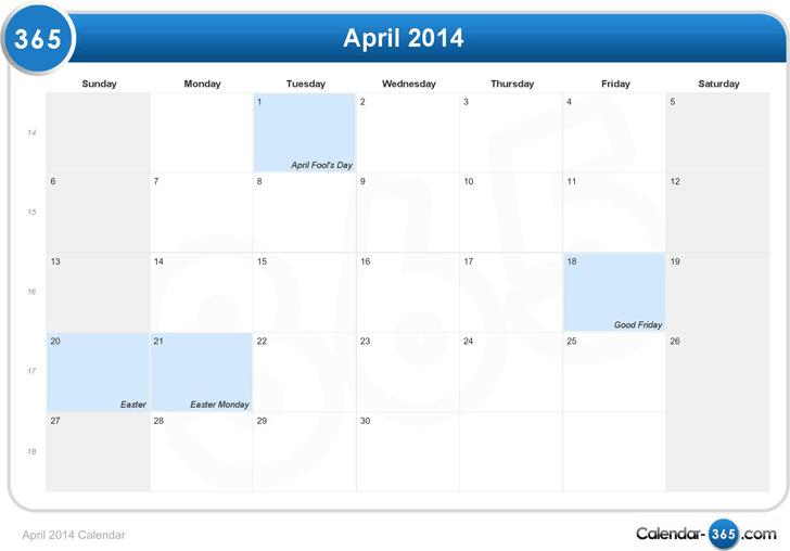 April 2014 Calendar 1