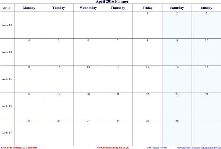 April 2016 Calendar 1