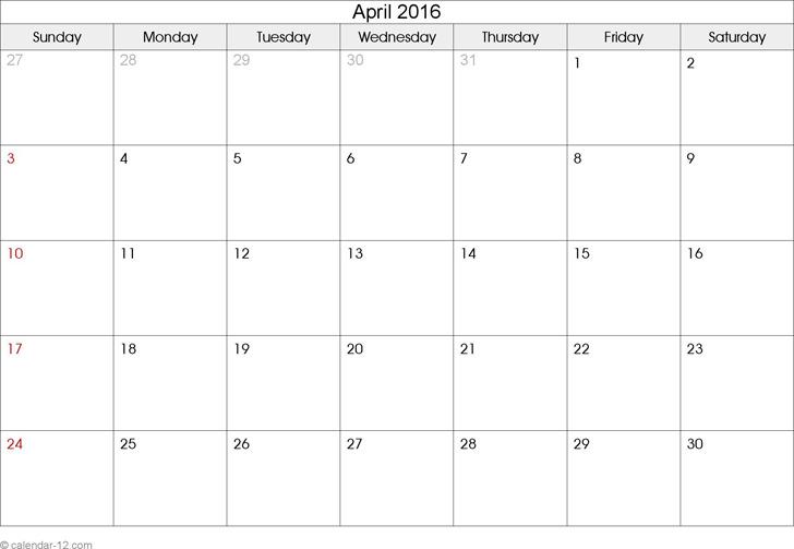April 2016 Calendar 2