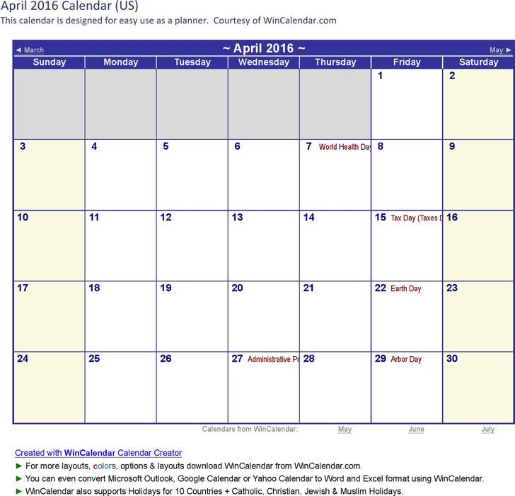 April 2016 Calendar 3