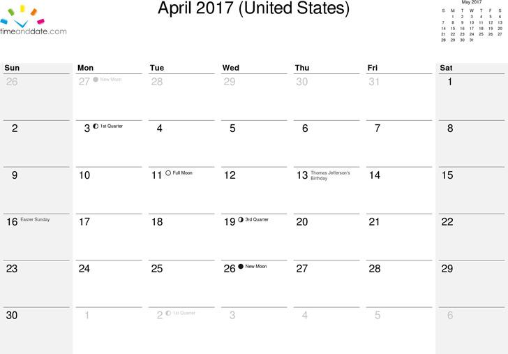 April 2017 Calendar 1