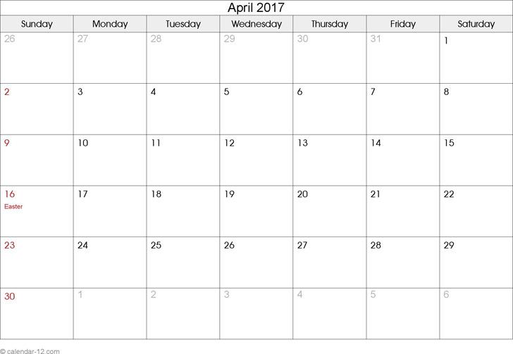 April 2017 Calendar 2