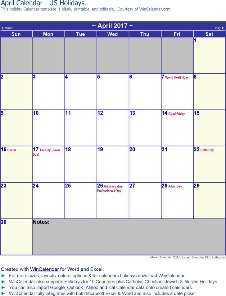 April 2017 Calendar 3