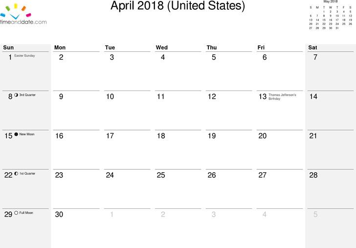 April 2018 Calendar 1