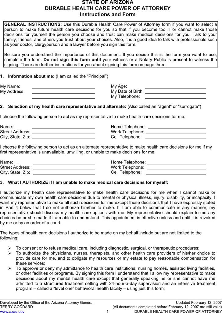 Arizona advance directive form download free premium for Advance care directive template