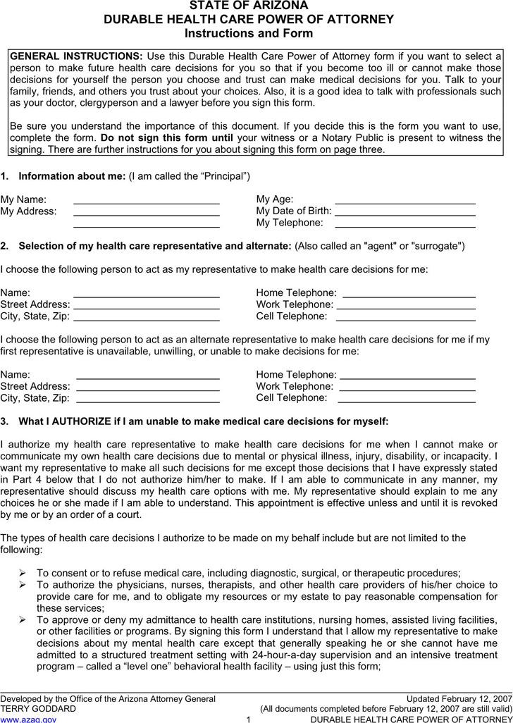 Arizona Advance Health Care Directive Form 2