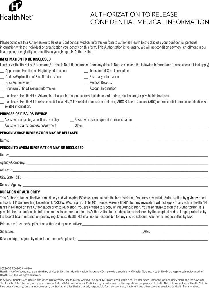 Arizona Authorization To Release Confidential Medical Information