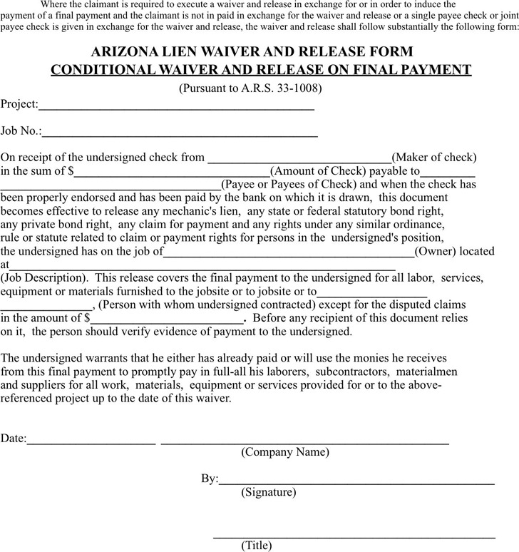 Arizona Lien Release Form  Download Free  Premium Templates