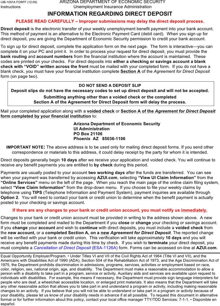 Arizona Direct Deposit Form 2