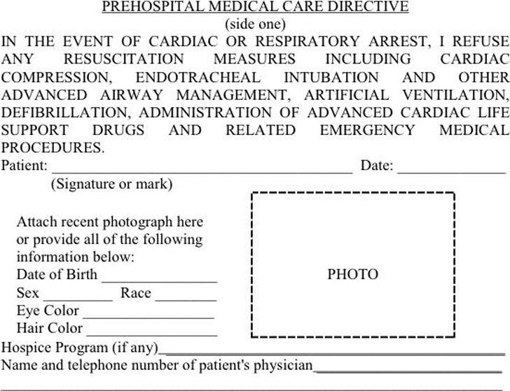 Arizona Do Not Resuscitate Form (Wallet Size)