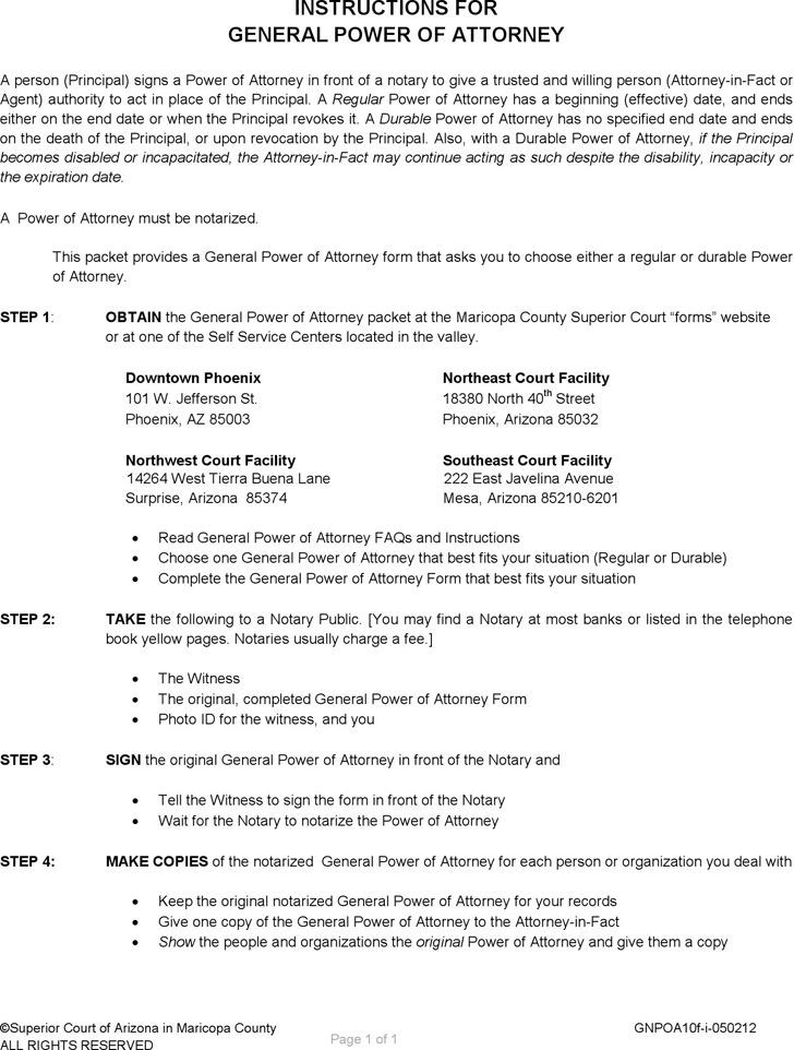 Arizona General Power of Attorney Form