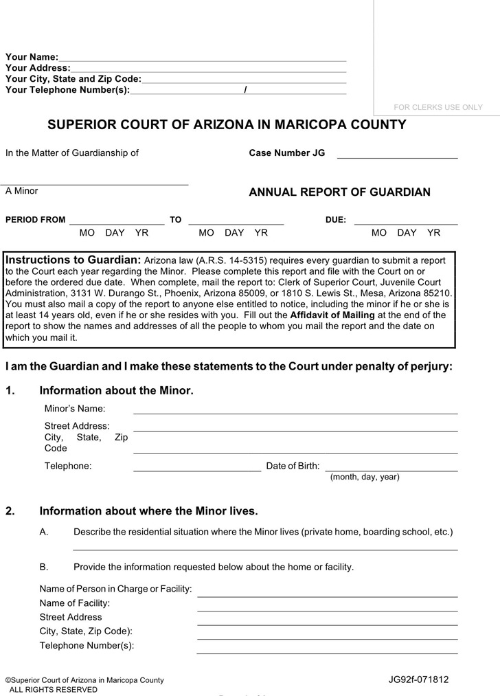 Arizona Guardianship Form
