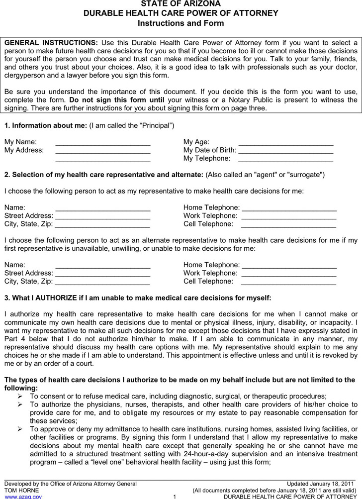Arizona Power Of Attorney Form Download Free Premium Templates