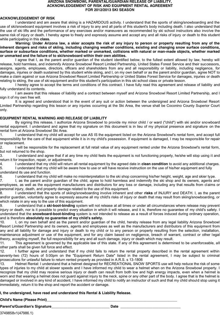 Arizona Liability Release Form 1