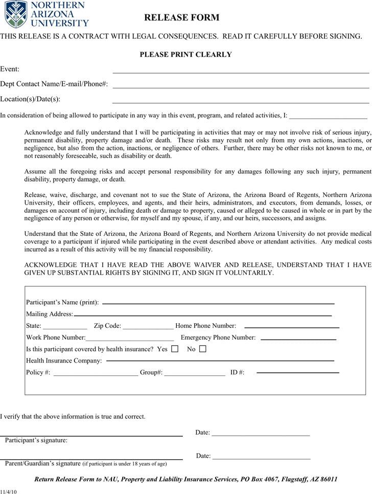 Arizona Liability Release Form 3