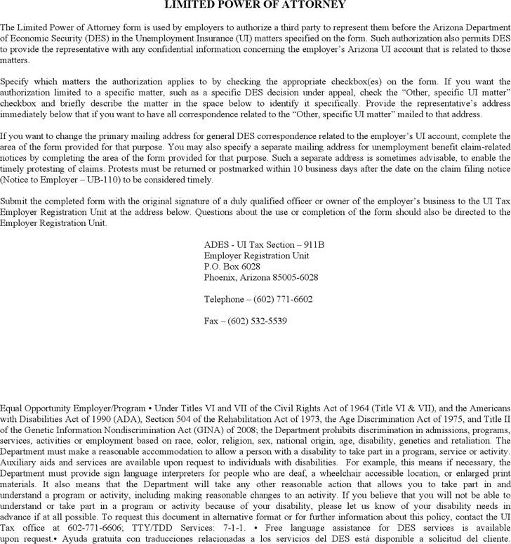 Arizona Limited Power of Attorney Form