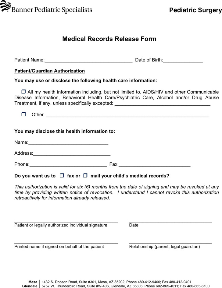 Arizona Medical Records Release Form 1