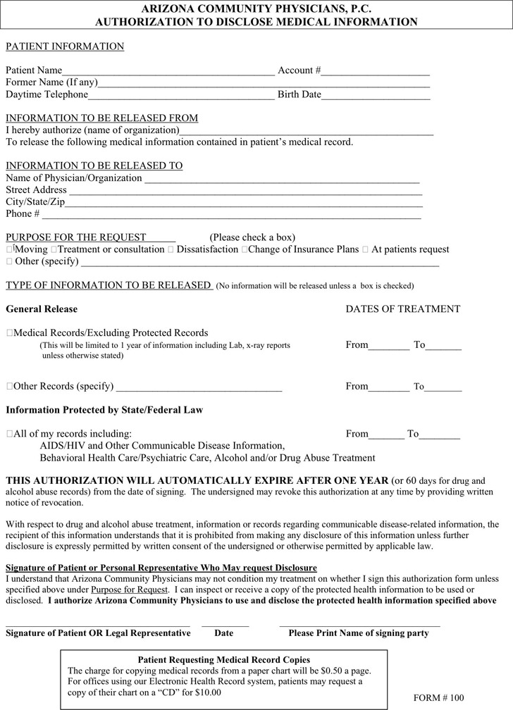Arizona Medical Records Release Form 2