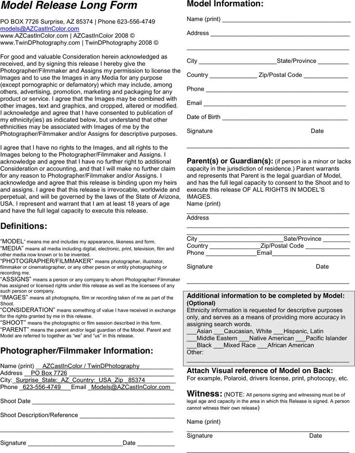 Arizona Model Release Form 3