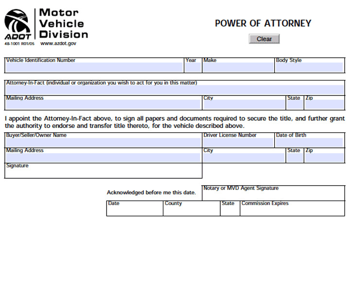 Arizona Motor Vehicle Power of Attorney Form