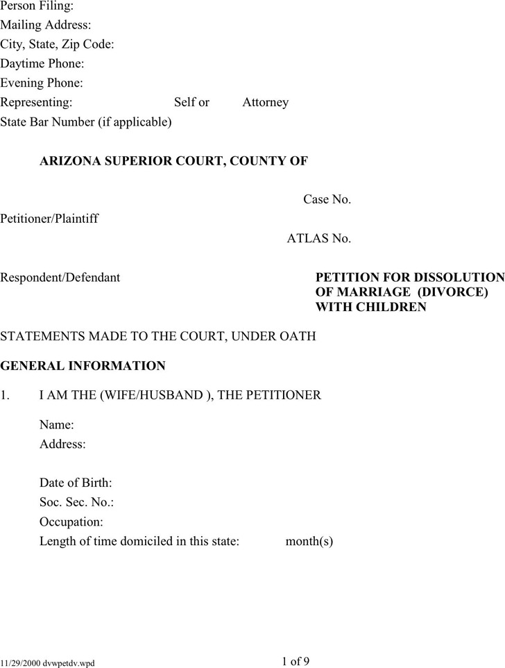 Arizona Petition For Dissolution of Marriage (Divorce) With Children