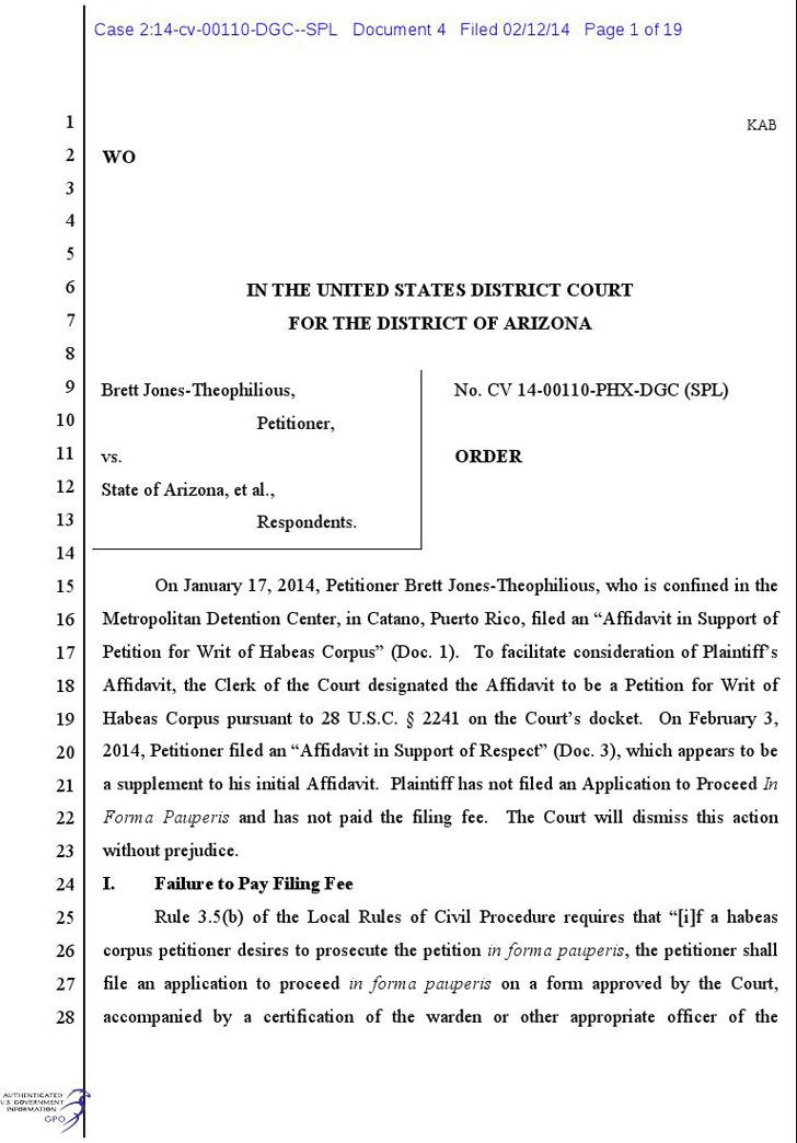Arizona Petition for Writ of Habeas Corpus