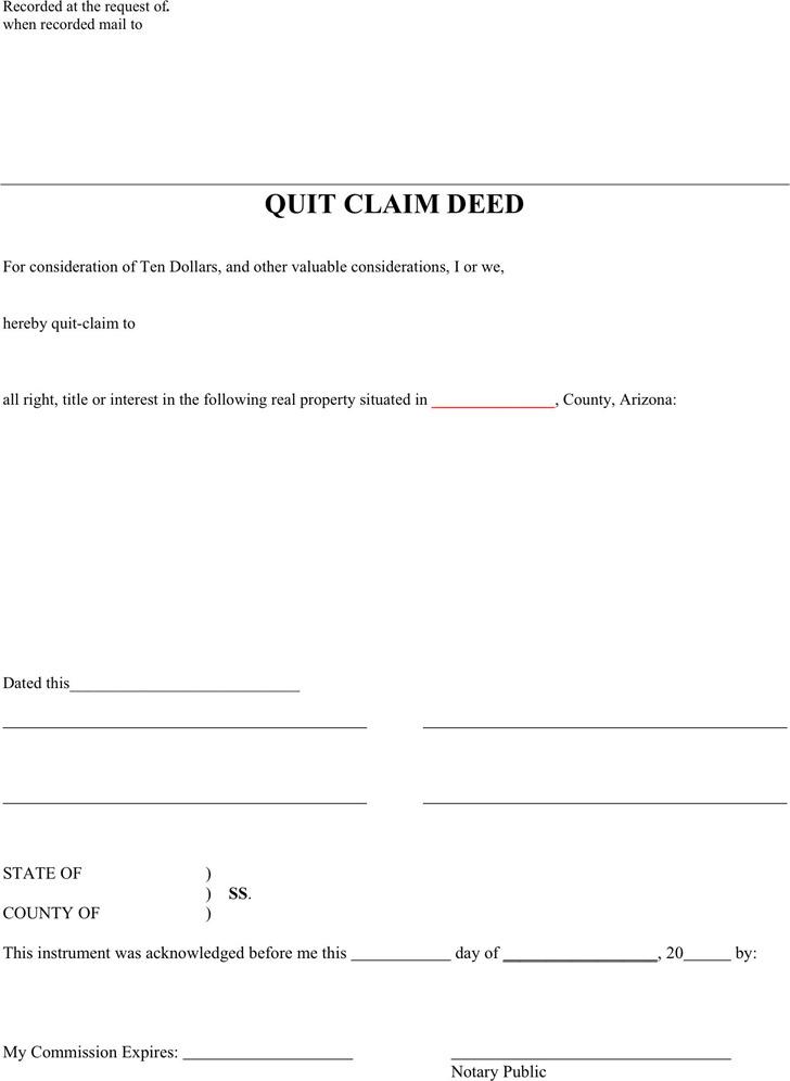 Arizona Quitclaim Deed Form