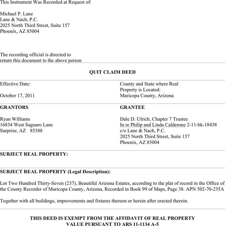 Arizona Quitclaim Deed Form  Download Free  Premium Templates
