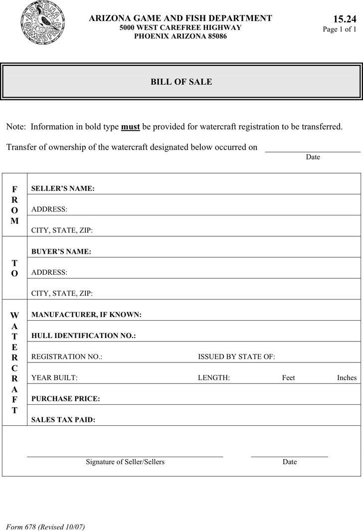 Arizona Watercraft Bill of Sale Form