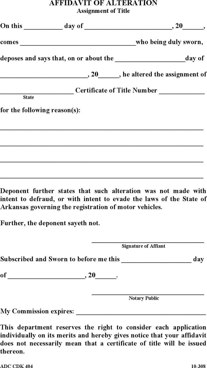 Arkansas Affidavit of Alteration Form