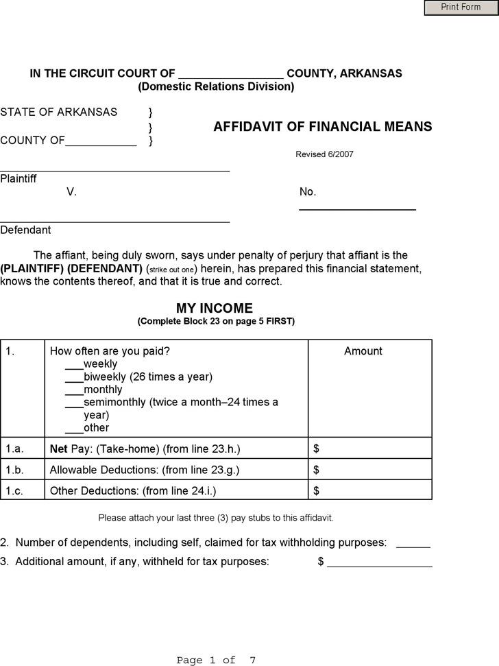 Arkansas Affidavit of Financial Means Form