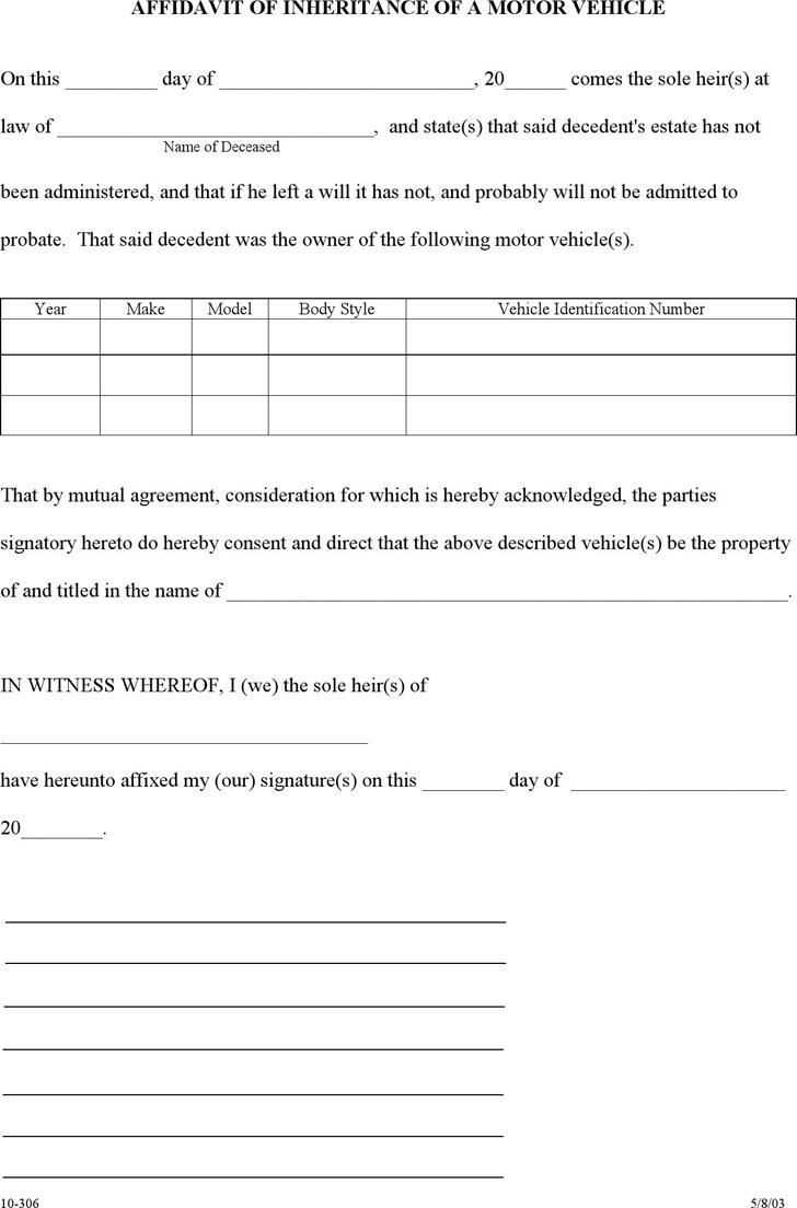 Arkansas Affidavit of Inheritance of a Motor Vehicle Form
