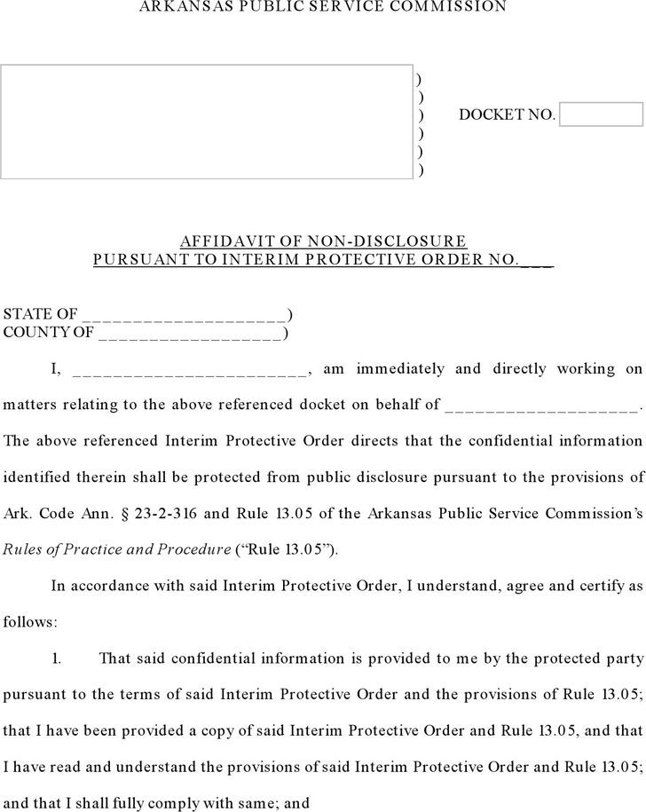 Arkansas Affidavit of Non-disclosure Form