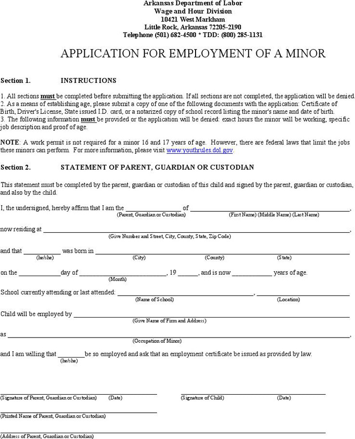 Arkansas Application for Employment of a Minor