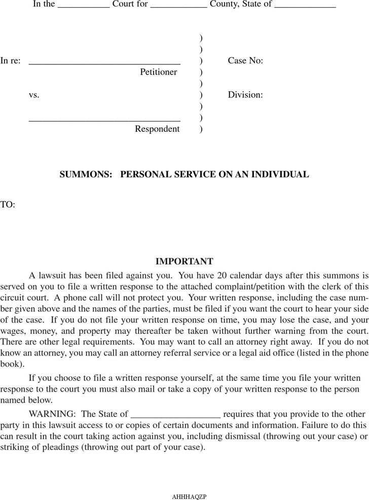 Arkansas Divorce Summons Form