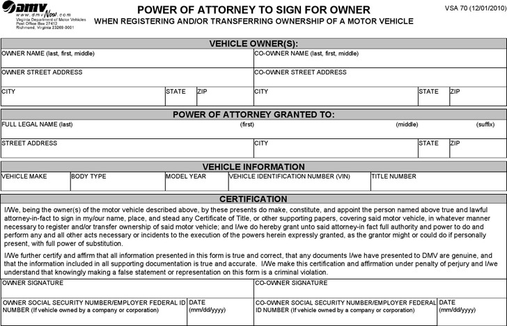 Arkansas Motor Vehicle Power of Attorney Form