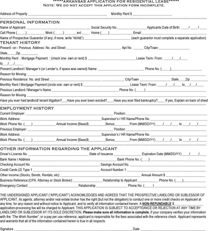 Arkansas Rental Application Template