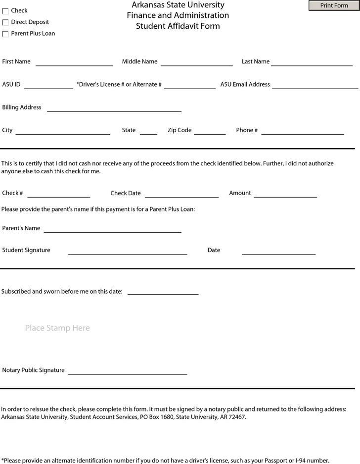 Arkansas State University Finance and Administration Student Affidavit Form