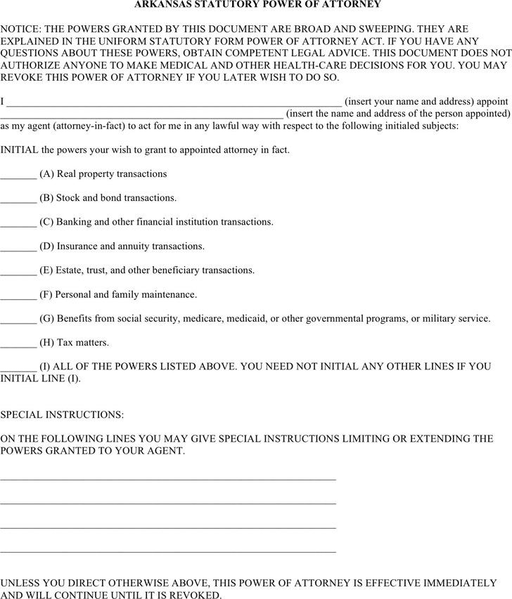 Arkansas Power Of Attorney Form Download Free Premium Templates