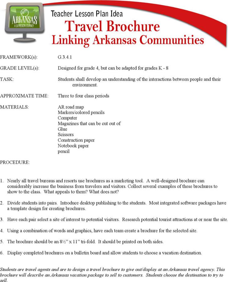 Arkansas Travel Brochure Lesson